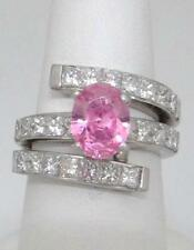 LADIES 18K WHITE GOLD OVAL PINK ICE 3.00ct PRINCESS CUT DIAMOND SEMI MOUNT RING