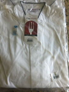 Chef Works White W/H Black Collar Outline Servers Shirt Extra-Small