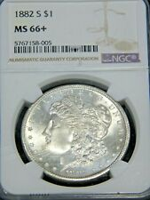 1882-S Morgan Silver Dollar NGC MS66+ White Superb Frosty Luster PQ #G941