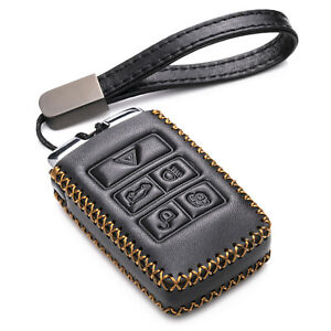 Vitodeco 5-Button Leather Key Fob Case for 2021 Land Rover Discovery,Range Rover