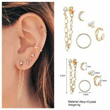 5Pcs/Set Crystal Moon Chain Ear Stud Earrings Women Tiny Gold Plated Jewelry NEW