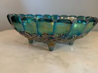 INDIANA CARNIVAL GLASS Footed Fruit Bowl IRIDESCENT BLUE Harvest Grape 9x12""