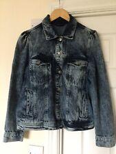 V BY VERY Puff Sleeve Acid Wash Denim Jacket Size 18uk