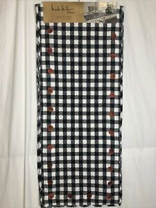 Nicole Miller Home Black & White Check Quilted Halloween Table Runner 14 x 72