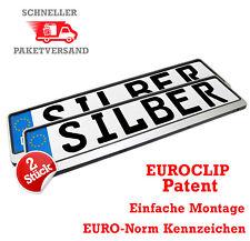2Stück Kennzeichenhalter in Silber Kennzeichen Nummernschild Halter EUROCLIP SET
