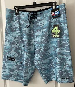 Pelagic 4 Tek Board Shorts Men's size 34 Digital Camo Blue High Performance NWT