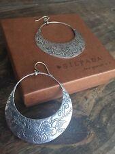 """Silpada Earrings Sterling Silver W2378 Floral Etchings 2 3/4"""" Hoops Sterling New"""