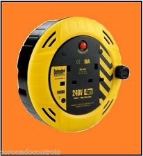 10 x UK 3.7M CABLE EXTENSION REEL  - 2 GANG 10 AMP  WITH SAFETY CUT-OFF
