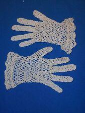 Paire de gants de fillette anciens, crochet, crochetés main, Petite Taille ...
