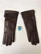 Portolano Women's Leather Gloves With Fringes on Cuff Size 8 - Kenya Roast