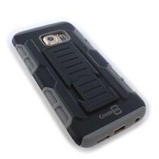 For Samsung Galaxy S6 Edge Holster Case Hybrid Hard Phone Cover + Belt Clip Gray