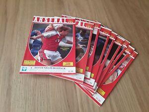 Arsenal 1990/91 Championship Season selection of Home League Programmes Away M-W