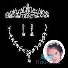 Princess Wedding Rhinestone Crystal Crown Tiara Necklace Earring Jewelry Sets