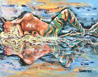Topless BEACH Babe Cigar MERMAID Original Art PAINTING DAN BYL Contemporary 4x5'