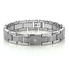 MEN'S TUNGSTEN DIAMOND BRACELET - SHINY & MATTE FINISH * NEW * TUNGSTEN CARBIDE