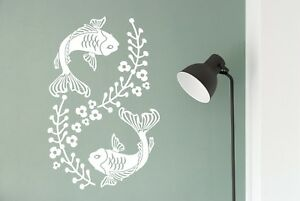 Japanese Koi Goldfish Carp Matt Vinyl Wall Art Bathroom Mirror Aquarium Sticker