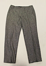 Talbots Women's Sequin Chevron Wool Ankle Pants Charcoal GG8 Size 14 NWT $129