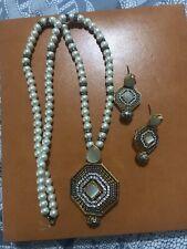 "24"" Long 22k Gold Plated CZ Polki Kundan Opalite Necklace Mala Earrings Set"