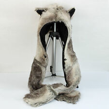 Hood Brown Bear Faux Fur Animal Hood Hoodie 3 in 1 Function w/Scarf  New