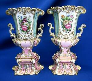 ANTIQUE PAIR OLD PARIS BOLTED URNS / VASES TURQUOISE / PINK HAND-PAINTED FLOWERS