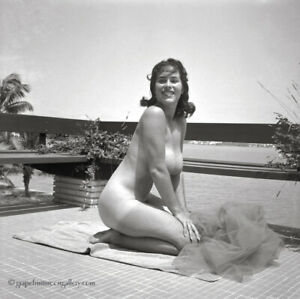 Bunny Yeager Camera Negative 1950s Smiling Nude Likely First Time Amateur Model