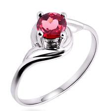 Red Natural Ruby WGF Solid Sterling Silver Birthstone Wedding Bridal Ring SR57