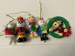 Lot of 5 Webkinz Ornaments Christmas Holidays Pig Seal Rabbit Monkey Panda Bear
