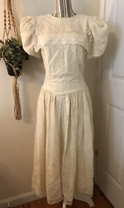 Vintage Gunne Sax Jessica Mcclintock Net Lace Prairie Cream Puff Dress SZ 9/10