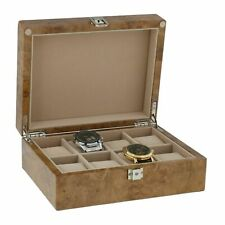 Watch Box for 8 Wrist Watches in Light Burl Wood with Solid Lid by Aevitas