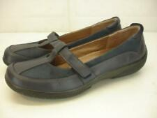 Womens 10 M Hotter Dolce Navy Blue Leather Mary Jane T-Strap Comfort Shoes Wedge