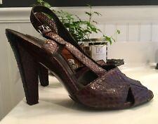 Balenciaga Snakeskin Open Toe Slingback Sandal Heels~Exotic Safari Texture~ SZ39