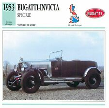 Bugatti-Invicta Speciale Sport 6 Cyl. 1953 UK/GB CAR VOITURE CARTE CARD FICHE