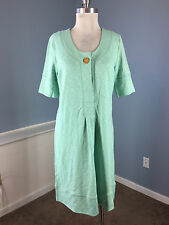 Territory Ahead M Cotton Green Dress Excellent casual lagenlook CUTE!