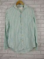 Tommy Bahama relaxed fit shirt men's green white stripe linen size S/P