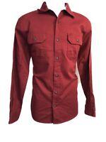 New Wrangler Flex Comfort Men's Small Button-up Relaxed Long Sleeve Shirt Red