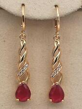 "1.2"" Earrings18K Yellow Gold Filled Ruby Topaz 3D Twisted Dangle Hoop Hollow Bar"