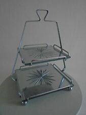 30S ART DECO PYRAMID TWO TIER CAKE STAND COMPLETE WITH MIRRORED GLASS RARE
