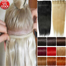 100% Real Deluxe Clip in Remy Human Hair Extensions One Piece 3/4 Full Head A497