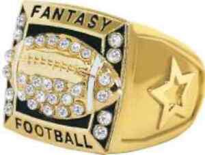 FANTASY FOOTBALL CHAMPION 24K GOLD TROPHY RING STARS ON SIDES