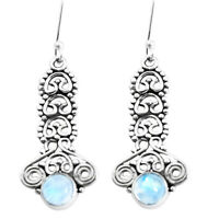 2.92cts Natural Rainbow Moonstone 925 Sterling Silver Earrings Jewelry P39253