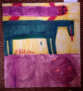 Willie White Folk Art  OutsiderAfrican-American Green Horse painting #3122