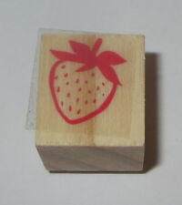 Strawberry Rubber Stamp New Wood Mounted Fruit Food Berries 3/4""