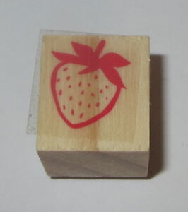 """Strawberry Rubber Stamp New Wood Mounted Fruit Food Berries 3/4"""""""