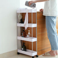 4-Tier Rolling Cart With Wheels For Kitchen Trolley Bathroom Storage Rack White