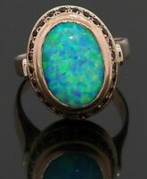 Antique 14K yellow gold elegant 13 x 9mm opal & ruby cocktail ring size 7.75