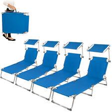 4x Aluminio tumbona plegable para ocio y jardín playa ocio hamaca con toldo azul