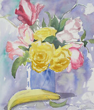 Still Life, Roses with Fruit Watercolor Painting by Cerise Johnson