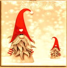"Swedish Trivet Tile ""Nisse (Tomte, Elf, Gnome) in the Snow""  6"" x 6"" Cork Back"