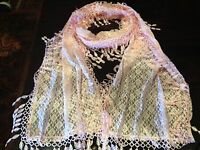 Vintage Victorian Style Antique Diamond Lace  Style Pale Pink Summer Scarf Wrap