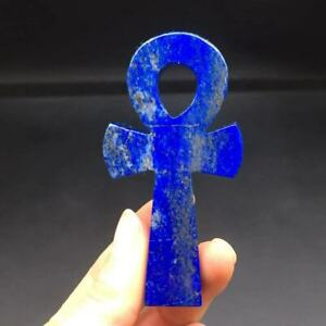 Natural Lapis Lazuli Quartz Carved Cross Pray ANKH Specimen Decoration 1Pc